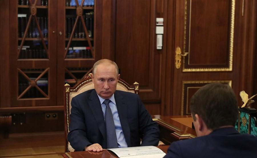 KREMLIN 19.10.2020 PH 3 X 4 Rencontre avec le chef de l'Agence fédérale des pêches Ilya Chestakov - 19 octobre 2020