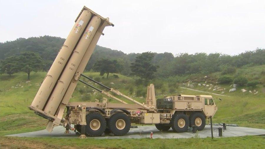 matériel de construction à la base du THAAD à Seongju.