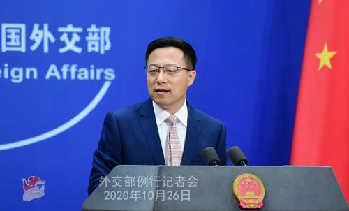PEKIN PH 2 Conférence de presse du 26 octobre 2020 tenue par le porte-parole du Ministère des Affaires étrangères Zhao Lijian