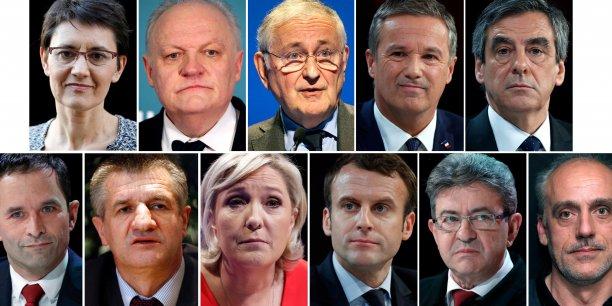 presidentielle-2017-11-candidats-le-pen-fillon-debat-hamon-macron-melenchon 2017. La campagne électorale en France