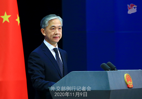 CHINE 1 DU 09.11.2020 Conférence de presse du 9 novembre 2020 tenue par le porte-parole du Ministère des Affaires étrangères Wang Wenbin