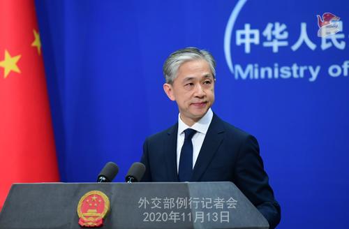 CHINE 1 W.WENBIN Conférence de presse du 13 novembre 2020 tenue par le porte-parole du Ministère des Affaires étrangères Wang Wenbin