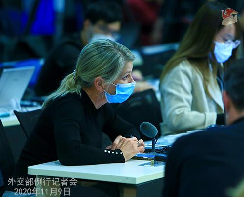CHINE 2 DU 09.11.2020 Conférence de presse du 9 novembre 2020 tenue par le porte-parole du Ministère des Affaires étrangères Wang Wenbin