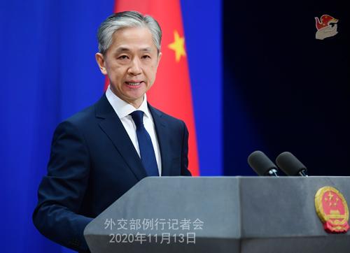 CHINE 3 W.WENBIN Conférence de presse du 13 novembre 2020 tenue par le porte-parole du Ministère des Affaires étrangères Wang Wenbin