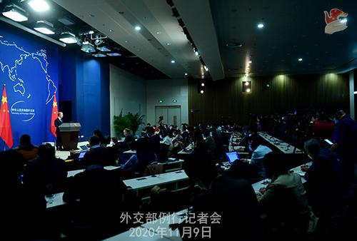 CHINE 4 DU 09.11.2020 Conférence de presse du 9 novembre 2020 tenue par le porte-parole du Ministère des Affaires étrangères Wang Wenbin