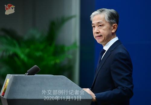 CHINE 6 W.WENBIN Conférence de presse du 13 novembre 2020 tenue par le porte-parole du Ministère des Affaires étrangères Wang Wenbin