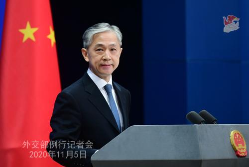 N°13 Conférence de presse du 5 novembre 2020 tenue par le porte-parole du Ministère des Affaires étrangères Wang Wenbin