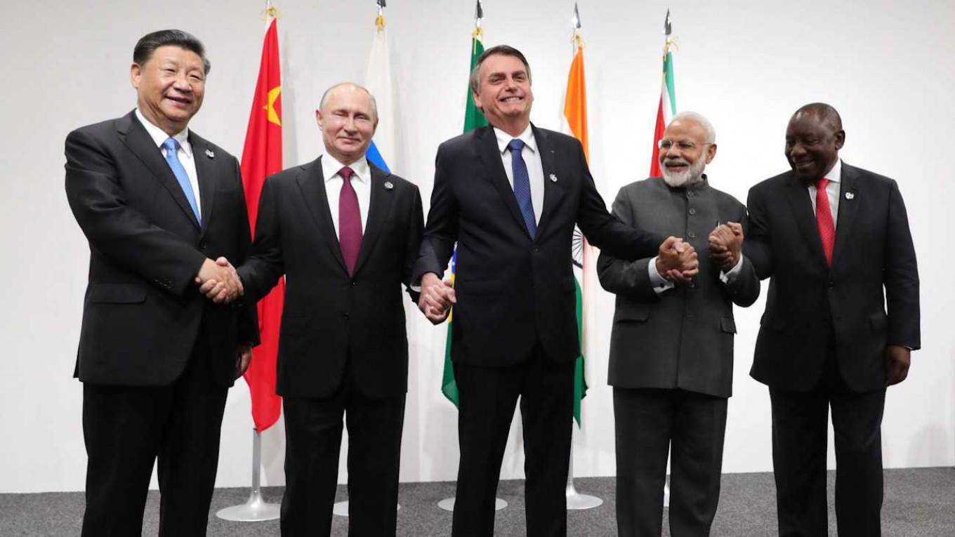 The last BRICS summit was held November in Brazil, before the outbreak of the pandemic. Mikhail Klimentyev EPA TASS 2020