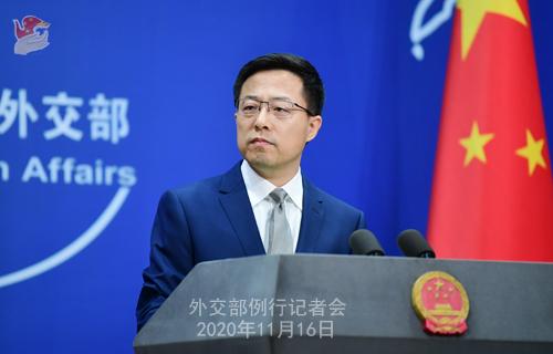 zhao lijian PH 2 Conférence de presse du 16 novembre 2020 tenue par le porte-parole du Ministère des Affaires étrangères Zhao Lijian