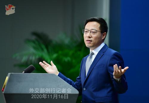 zhao lijian PH 3 Conférence de presse du 16 novembre 2020 tenue par le porte-parole du Ministère des Affaires étrangères Zhao Lijian