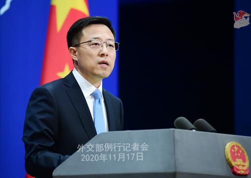 zhao lijian PH 8 Conférence de presse du 17 novembre 2020 tenue par le porte-parole du Ministère des Affaires étrangères Zhao Lijian