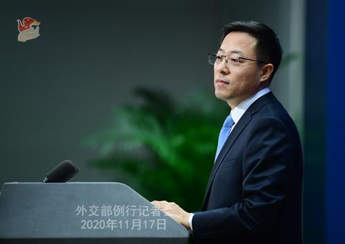 zhao lijian PH 9 Conférence de presse du 17 novembre 2020 tenue par le porte-parole du Ministère des Affaires étrangères Zhao Lijian
