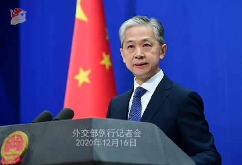 CHINE 1 Conférence de presse du 16 décembre 2020 tenue par le porte-parole du Ministère des Affaires étrangères Wang Wenbin