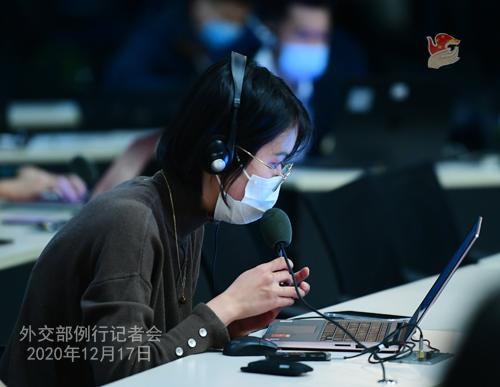 CHINE 10 Conférence de presse du 17 décembre 2020 tenue par le porte-parole du Ministère des Affaires étrangères Wang Wenbin
