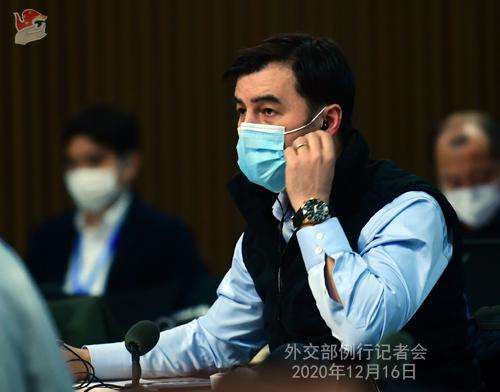CHINE 2 Conférence de presse du 16 décembre 2020 tenue par le porte-parole du Ministère des Affaires étrangères Wang Wenbin