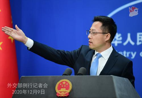 CHINE 2 SUR 23 Conférence de presse du 9 décembre 2020 tenue par le porte-parole du Ministère des Affaires étrangères Zhao Lijian