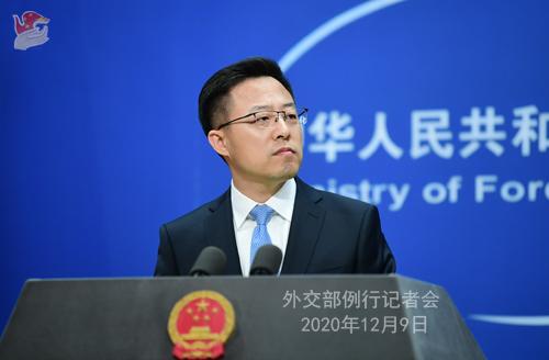 CHINE 3 SUR 23 Conférence de presse du 9 décembre 2020 tenue par le porte-parole du Ministère des Affaires étrangères Zhao Lijian