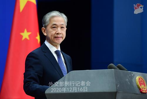 CHINE 4 Conférence de presse du 16 décembre 2020 tenue par le porte-parole du Ministère des Affaires étrangères Wang Wenbin
