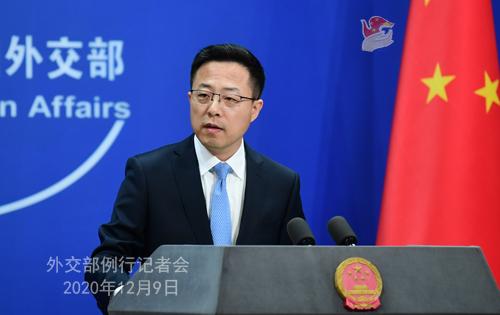 CHINE 4 SUR 23 Conférence de presse du 9 décembre 2020 tenue par le porte-parole du Ministère des Affaires étrangères Zhao Lijian