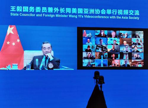 CHINE 5 Entretien par liaison vidéo entre Wang Yi et l'Asia Society des États-Unis du 18.12.2020