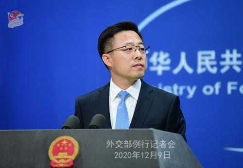 CHINE 5 SUR 23 Conférence de presse du 9 décembre 2020 tenue par le porte-parole du Ministère des Affaires étrangères Zhao Lijian