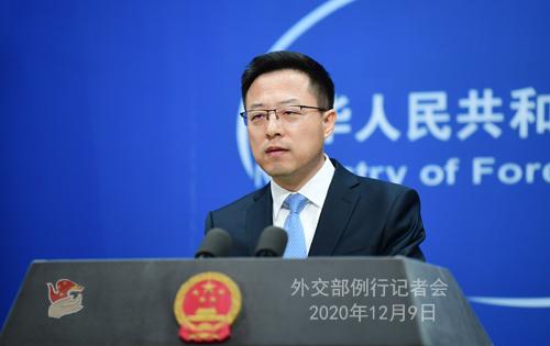 CHINE 6 SUR 23 Conférence de presse du 9 décembre 2020 tenue par le porte-parole du Ministère des Affaires étrangères Zhao Lijian