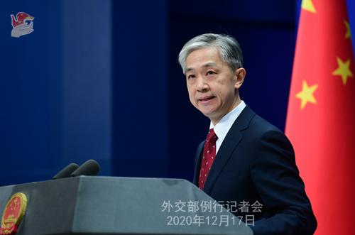 CHINE 7 Conférence de presse du 17 décembre 2020 tenue par le porte-parole du Ministère des Affaires étrangères Wang Wenbin