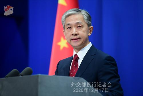 CHINE 9 Conférence de presse du 17 décembre 2020 tenue par le porte-parole du Ministère des Affaires étrangères Wang Wenbin