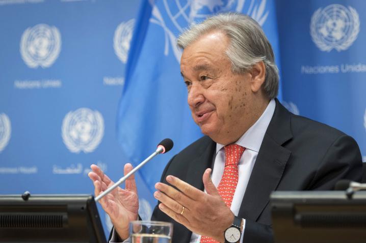 haut-karabakhLe Secrétaire général de l'ONU, António Guterres, lors d'une conférence de presse. Photo ONU Mark Garten