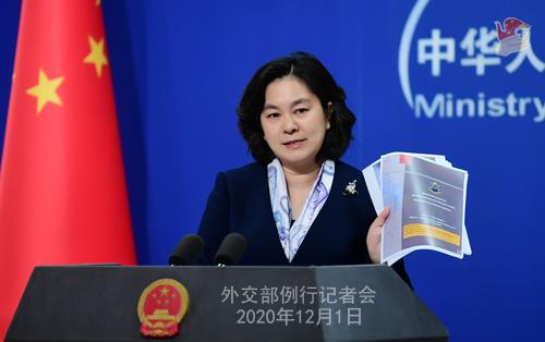 HUA CHUNYING PH 10 DU 01.12.2020 Conférence de presse du 01 décembre 2020 tenue par la porte-parole du Ministère des Affaires étrangères Hua Chunying