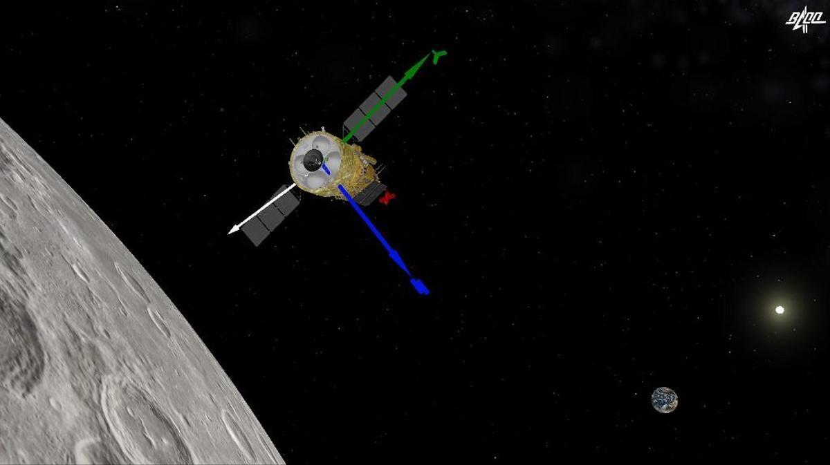 Image tirée de l'animation vidéo fournie par le Centre de contrôle aérospatial de Pékin (BACC), alors que la sonde Chang'e-5 effectuait son deuxième freinage.