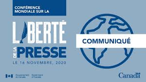 La 2e Conférence mondiale sur la liberté de la presse s'est tenue le 16 novembre 2020 sous la présidence du Canada et du Botswana.