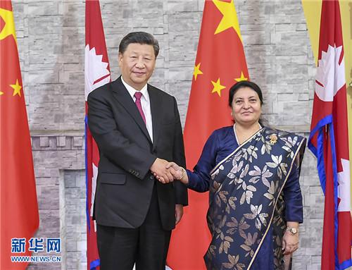 le président chinois Xi Jinping et son homologue népalaise Bidya Devi Bhandari.