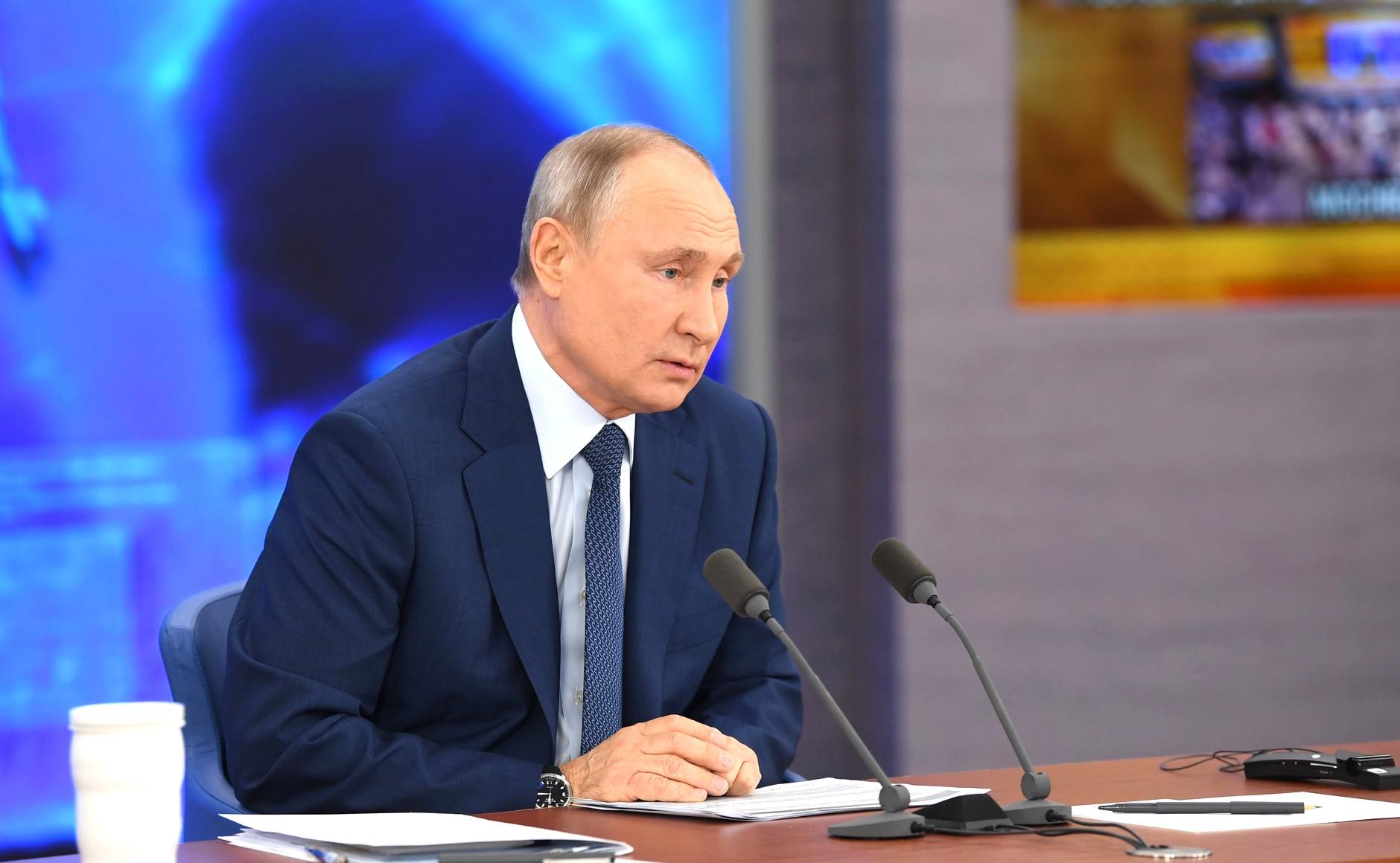RUSSIE 17.12.2020.CONFERENCE 15 XX 66 Avant le début de la conférence de presse annuelle de Vladimir Poutine.