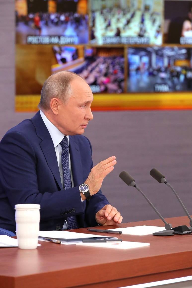 RUSSIE 17.12.2020.CONFERENCE 18 XX 66 Avant le début de la conférence de presse annuelle de Vladimir Poutine.
