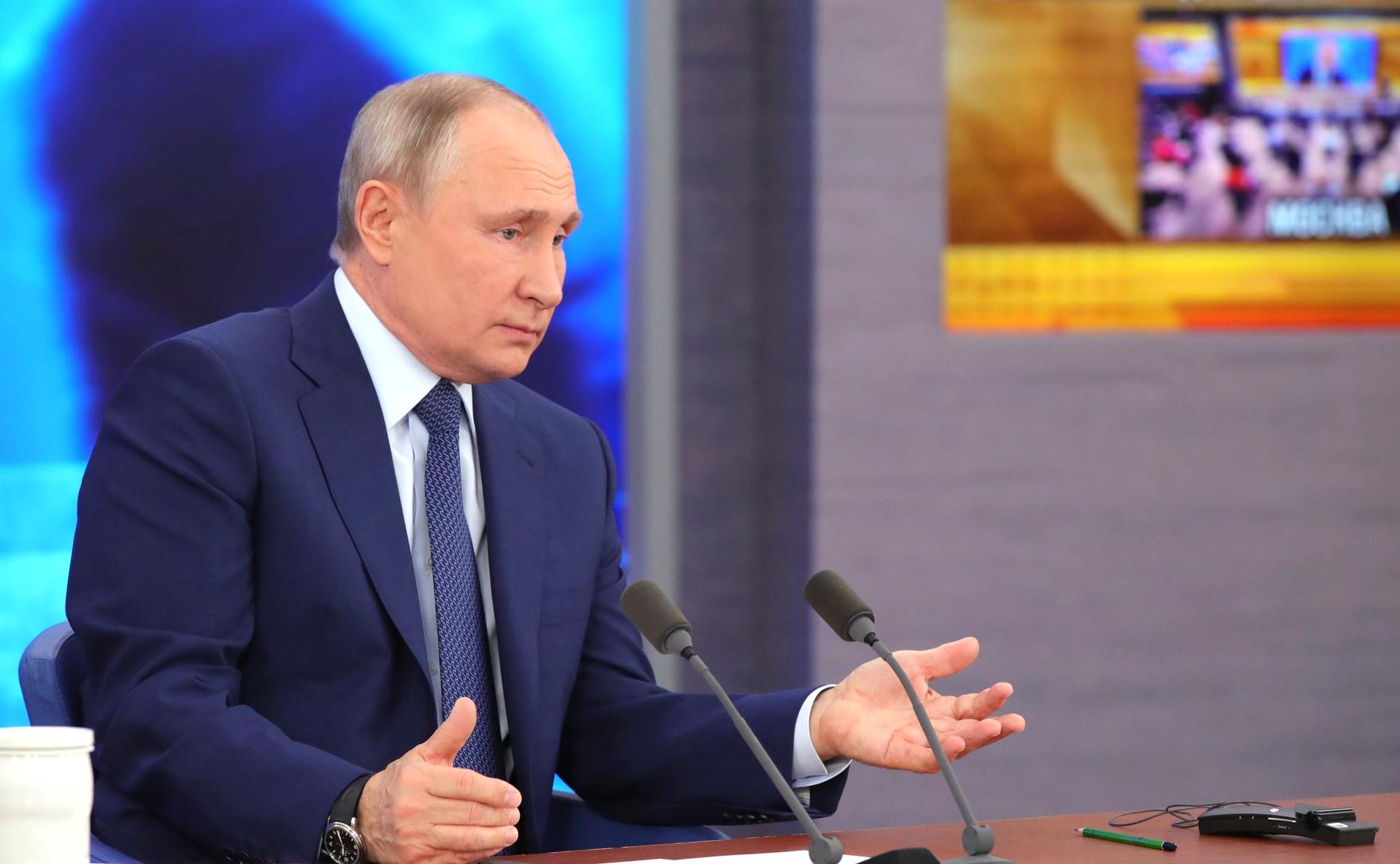 RUSSIE 17.12.2020.CONFERENCE 19 XX 66 Avant le début de la conférence de presse annuelle de Vladimir Poutine.