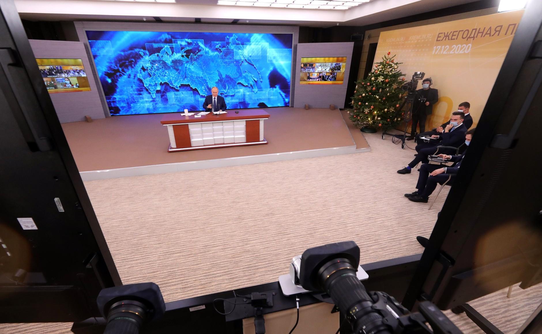 RUSSIE 17.12.2020.CONFERENCE 21 XX 66 Avant le début de la conférence de presse annuelle de Vladimir Poutine.