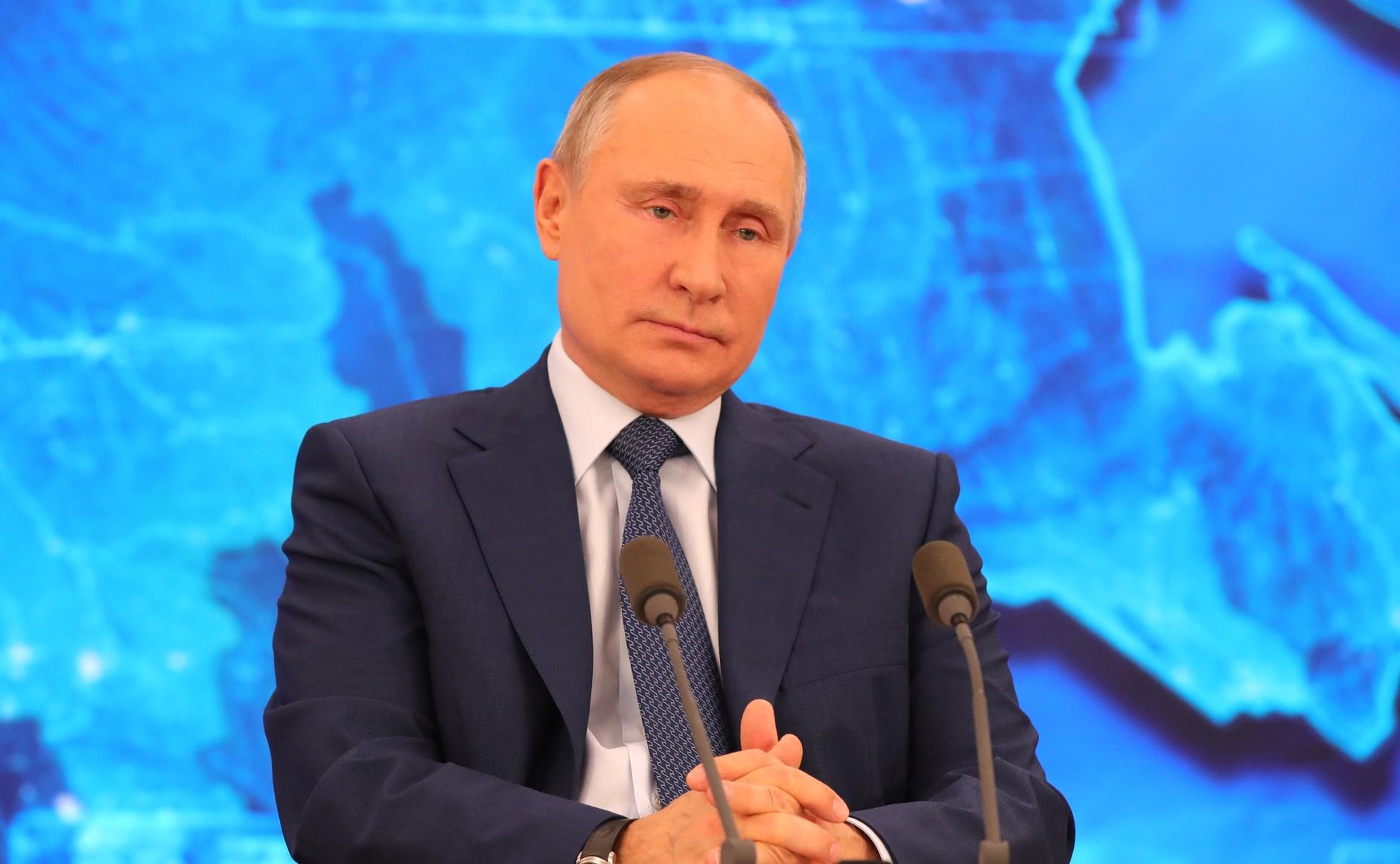 RUSSIE 17.12.2020.CONFERENCE 23 XX 66 Avant le début de la conférence de presse annuelle de Vladimir Poutine.