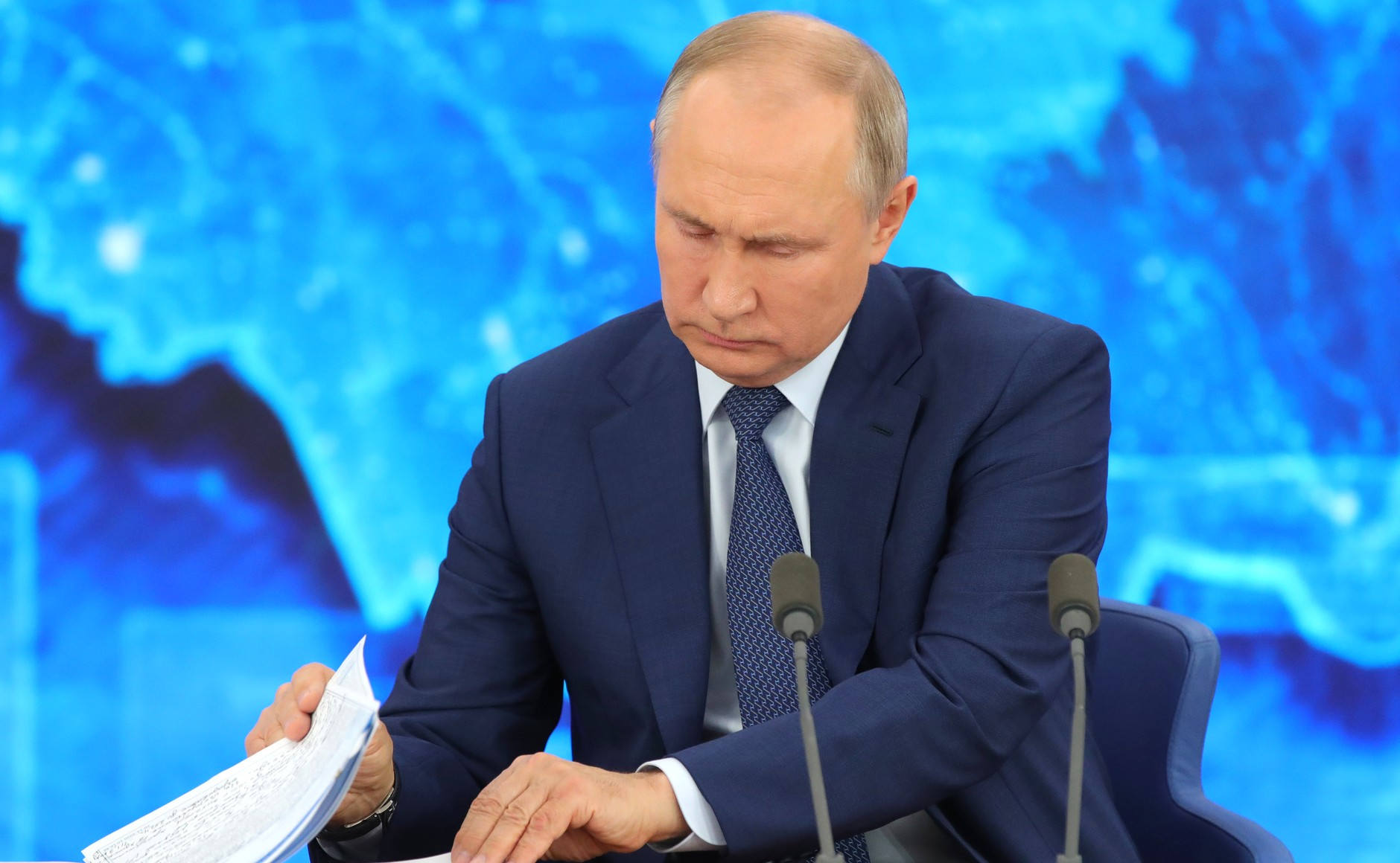 RUSSIE 17.12.2020.CONFERENCE 25 XX 66 Avant le début de la conférence de presse annuelle de Vladimir Poutine.