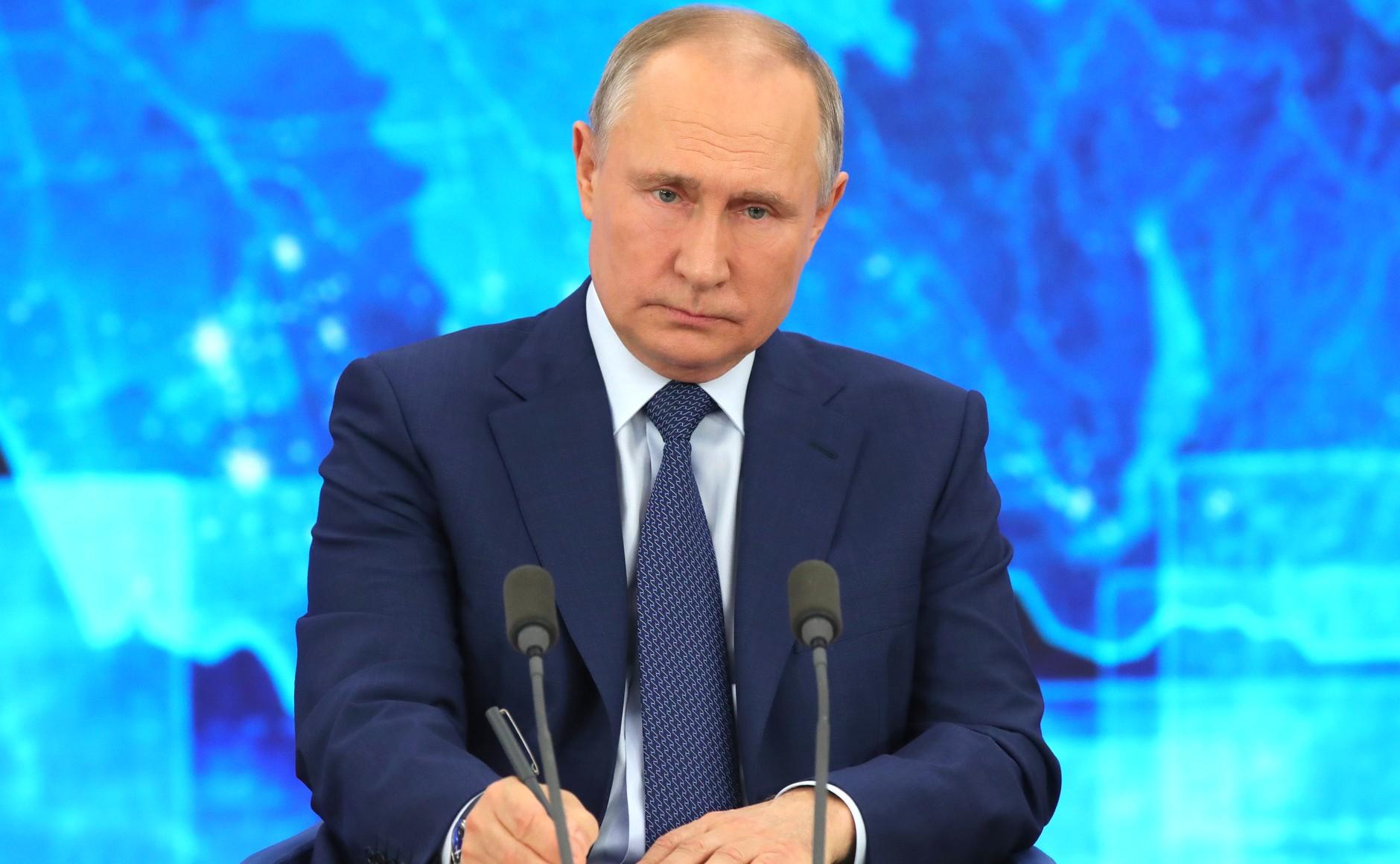 RUSSIE 17.12.2020.CONFERENCE 32 XX 66 Avant le début de la conférence de presse annuelle de Vladimir Poutine.