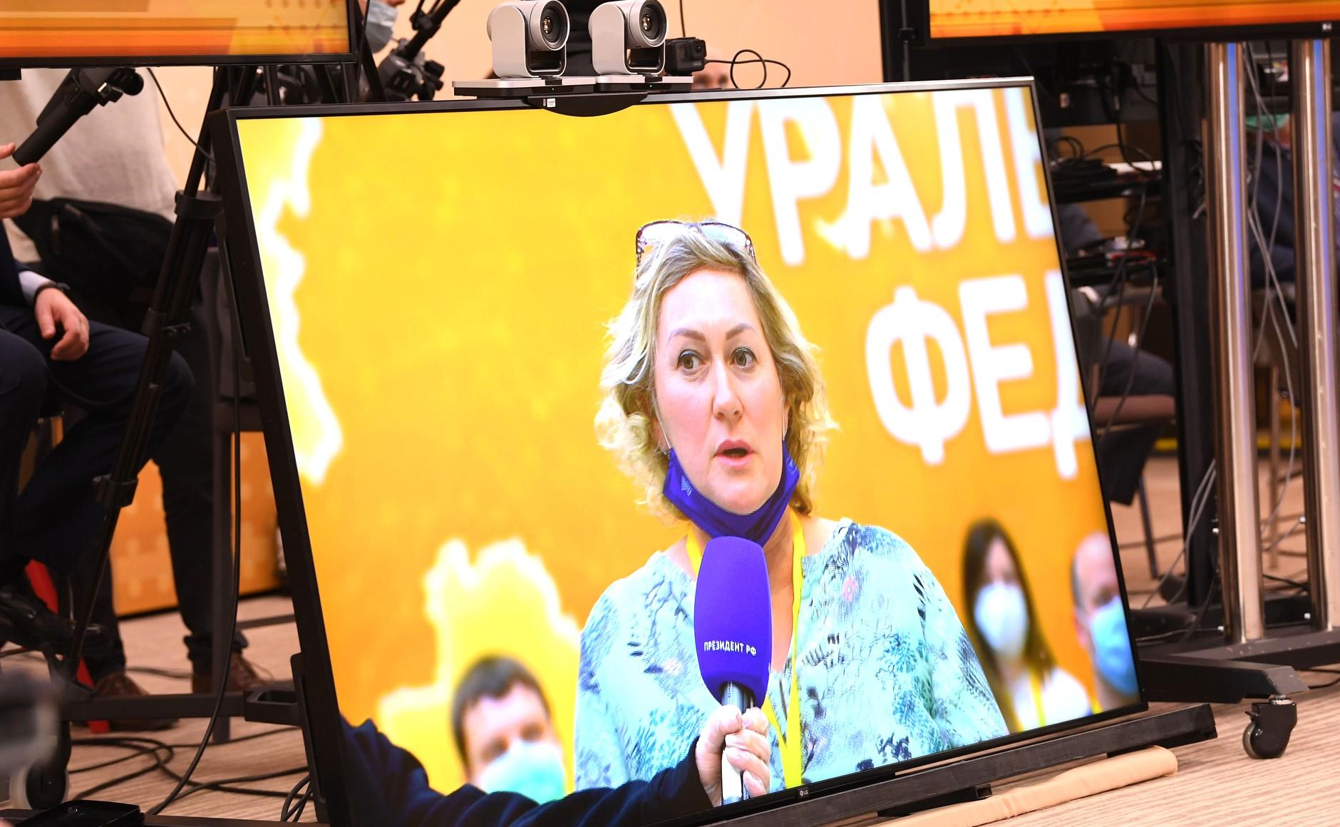 RUSSIE 17.12.2020.CONFERENCE 33 XX 66 Avant le début de la conférence de presse annuelle de Vladimir Poutine.