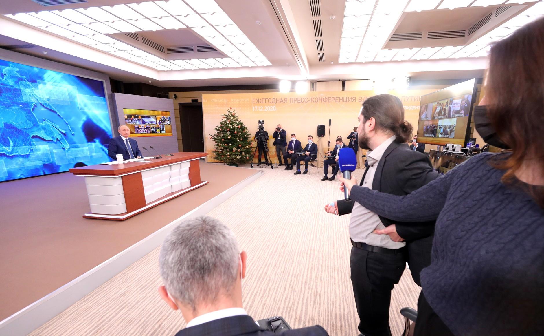 RUSSIE 17.12.2020.CONFERENCE 39 XX 66 Avant le début de la conférence de presse annuelle de Vladimir Poutine.