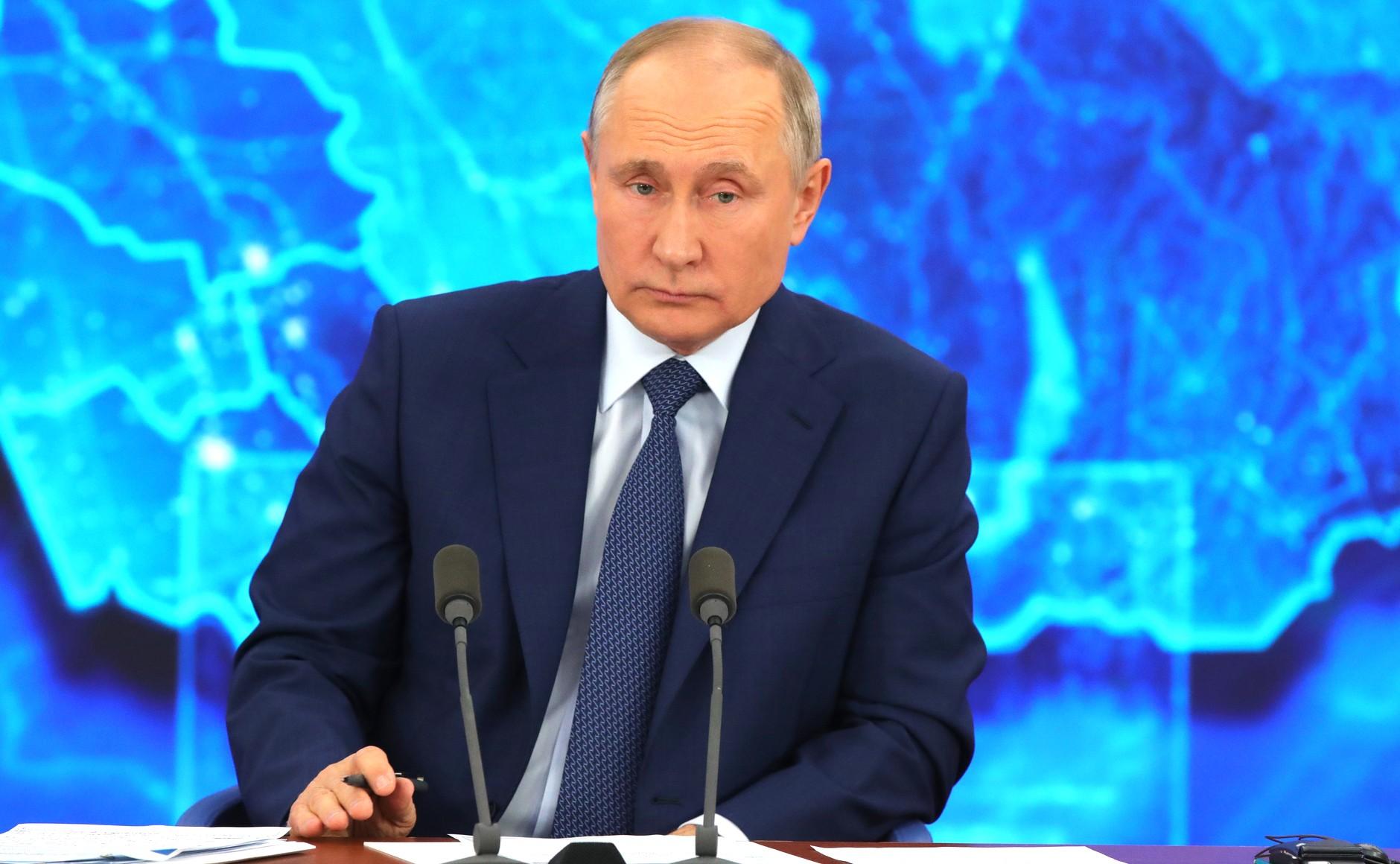 RUSSIE 17.12.2020.CONFERENCE 43 XX 66 Avant le début de la conférence de presse annuelle de Vladimir Poutine.