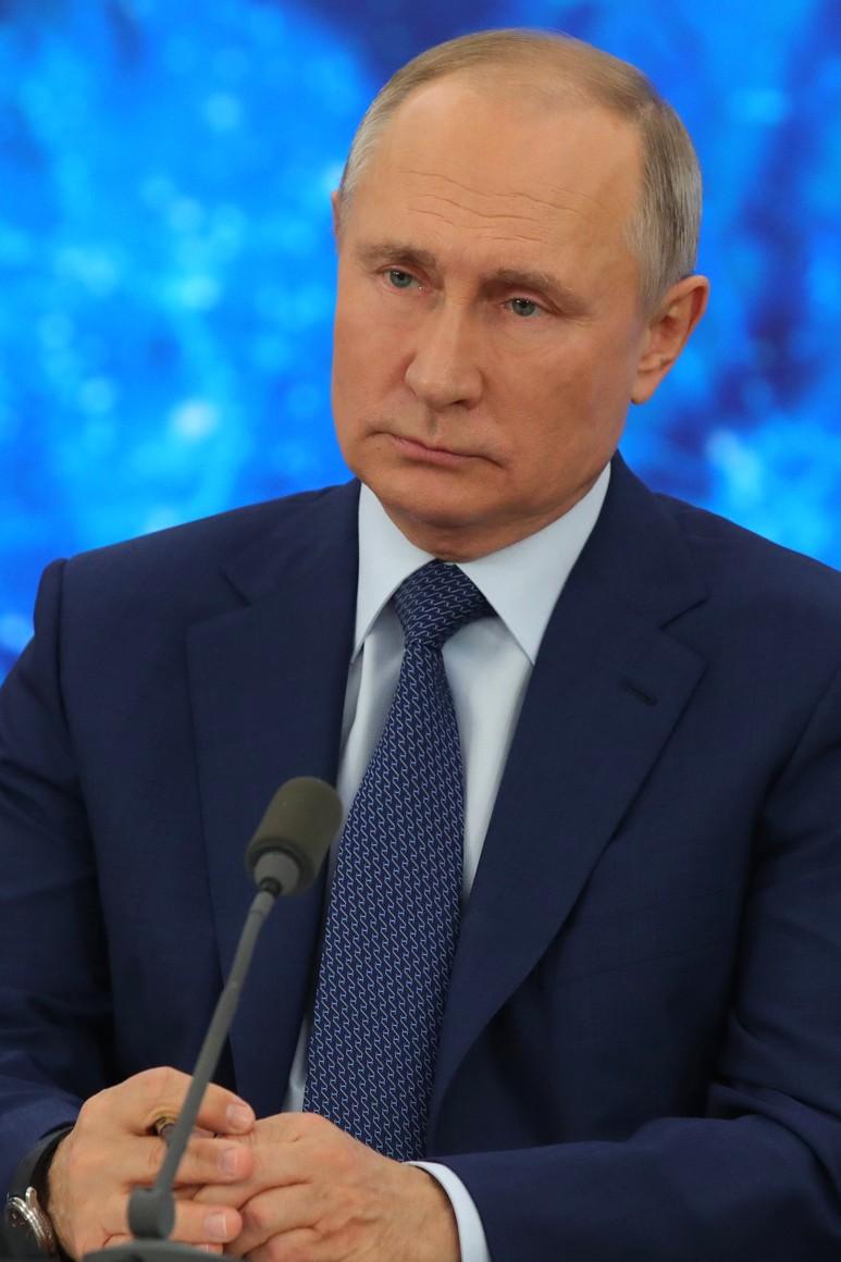RUSSIE 17.12.2020.CONFERENCE 45 XX 66 Avant le début de la conférence de presse annuelle de Vladimir Poutine.