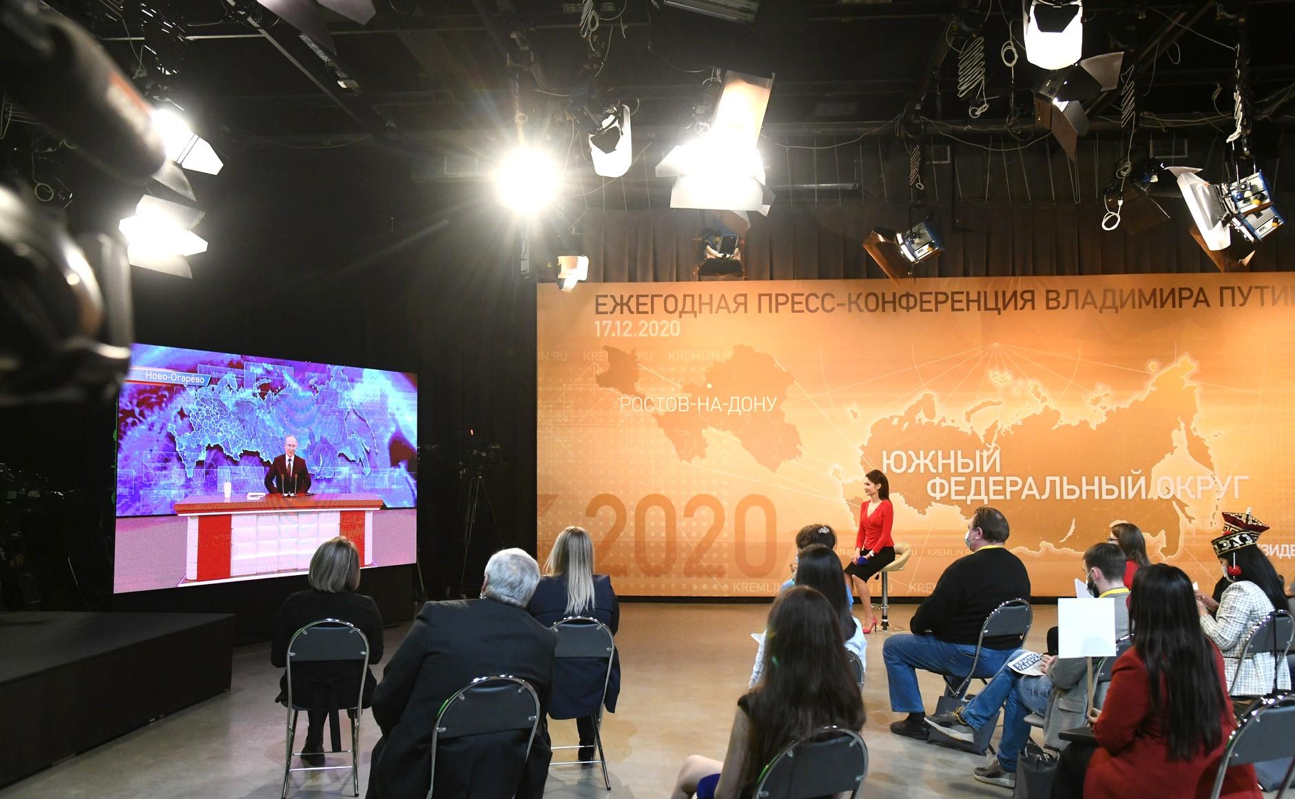 RUSSIE 17.12.2020.CONFERENCE 46 XX 66 Avant le début de la conférence de presse annuelle de Vladimir Poutine.
