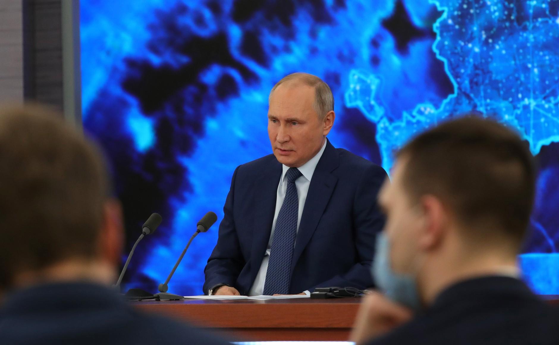RUSSIE 17.12.2020.CONFERENCE 48 XX 66 Avant le début de la conférence de presse annuelle de Vladimir Poutine.