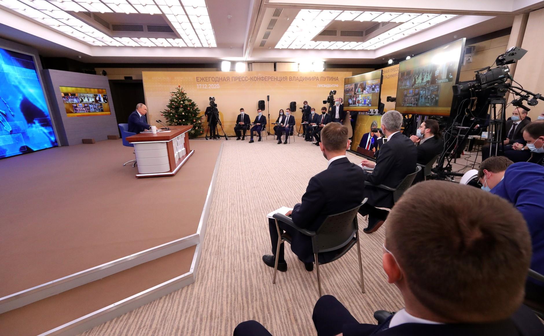 RUSSIE 17.12.2020.CONFERENCE 5 XX 66 Avant le début de la conférence de presse annuelle de Vladimir Poutine.