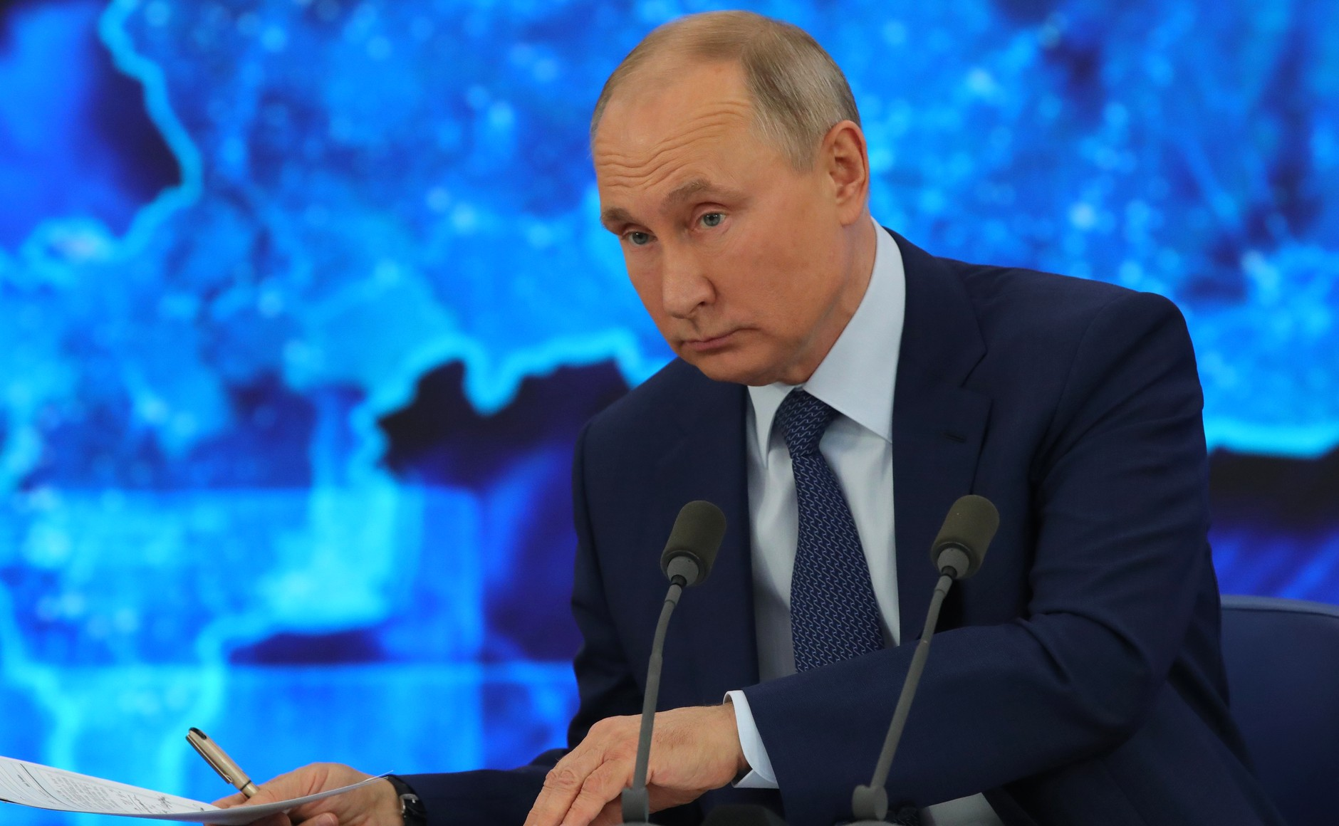 RUSSIE 17.12.2020.CONFERENCE 50 XX 66 Avant le début de la conférence de presse annuelle de Vladimir Poutine.