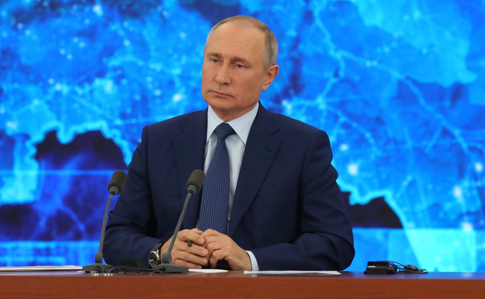 RUSSIE 17.12.2020.CONFERENCE 52 XX 66 Avant le début de la conférence de presse annuelle de Vladimir Poutine.