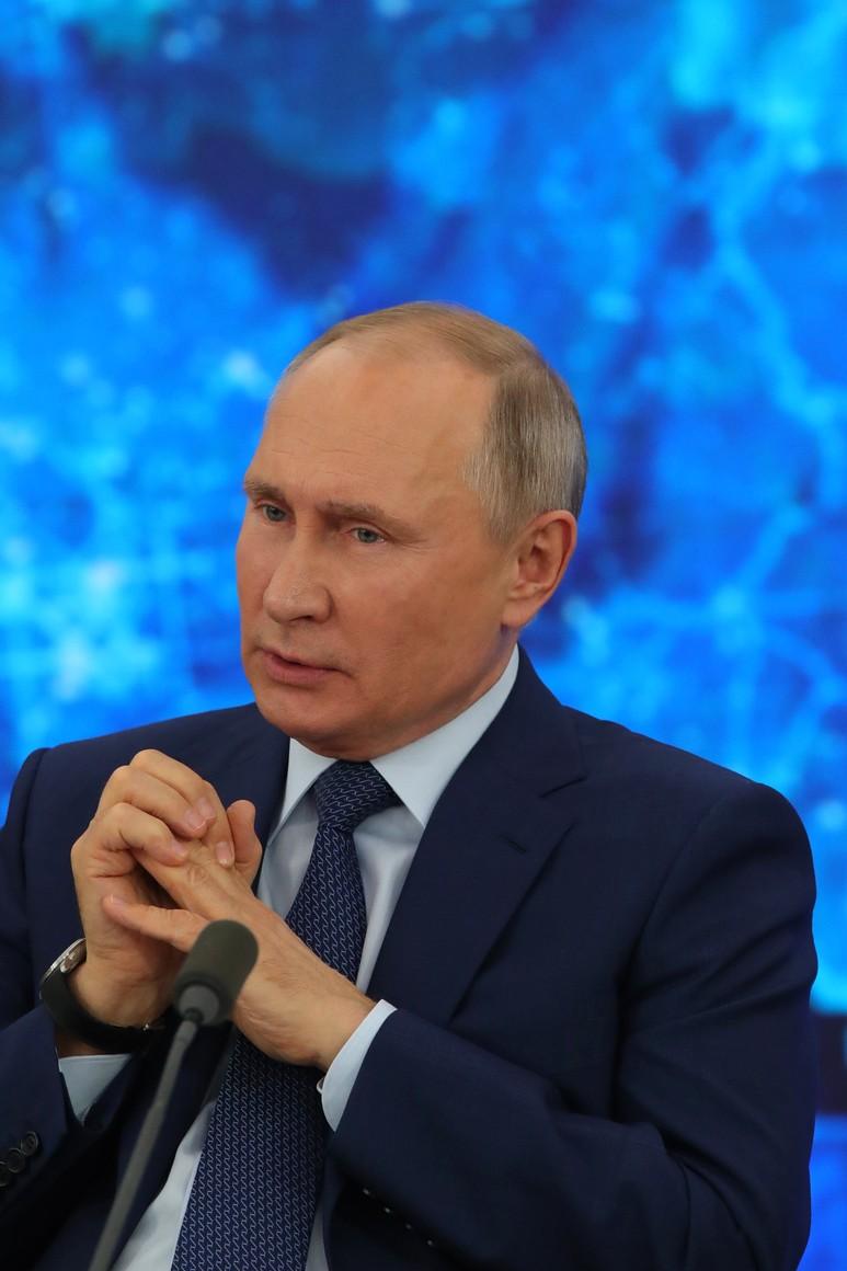 RUSSIE 17.12.2020.CONFERENCE 57 XX 66 Avant le début de la conférence de presse annuelle de Vladimir Poutine.